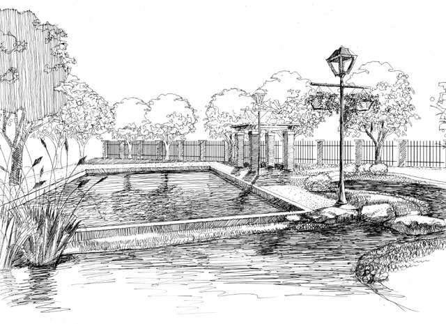 图纸 园林设计图  景观手绘    庭园景观手绘黑白稿   相关专题:景观