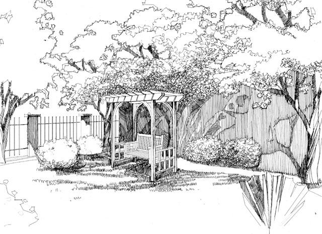 小区景观设计手绘效果图 小区景观设计手绘平面图 小区入口景观手绘