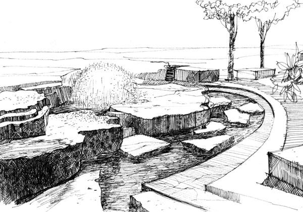 图纸 园林设计图  景观手绘             手绘黑白稿            相关
