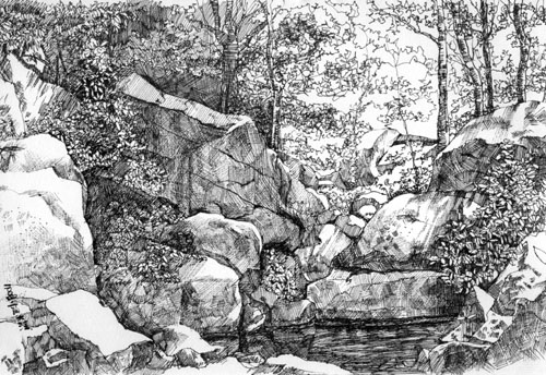 园林石头手绘图片