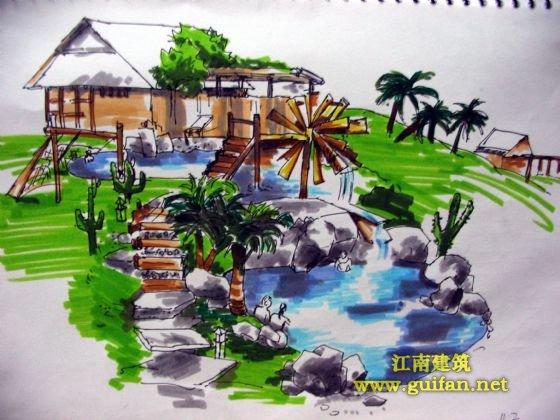 图手绘效果图培训景观手绘效果图展厅手绘效果图景观小品手绘效果图
