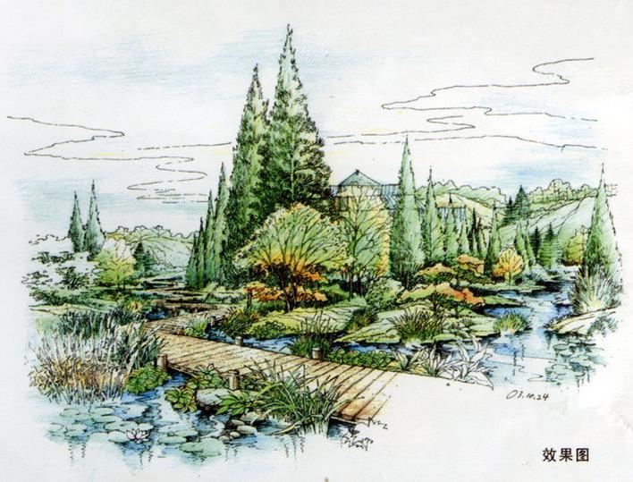 公园建筑手绘效果图