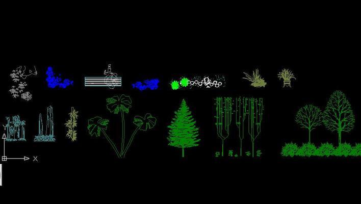 植物剖立面图 植物配置立面图  所属分类:平面效果图 园林景观效果图