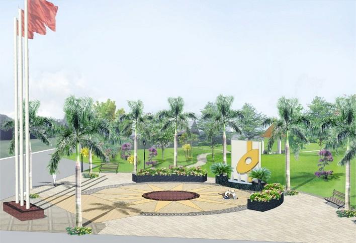 公园广场设计效果图  所属分类:广场绿化设计 绿化cad图纸 园林设计图