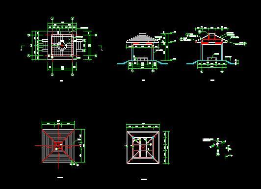 某地亭廊连体小品景观施工图(平面图,立面图,节点详图) 某仿古牌坊