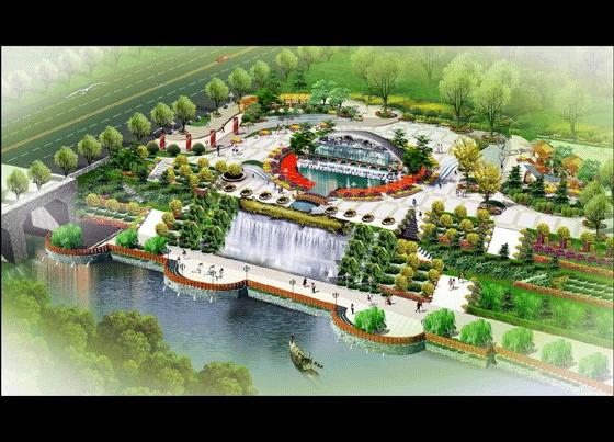 图纸 园林设计图 园林景观效果图 园林景观鸟瞰图 某市河道休闲广场