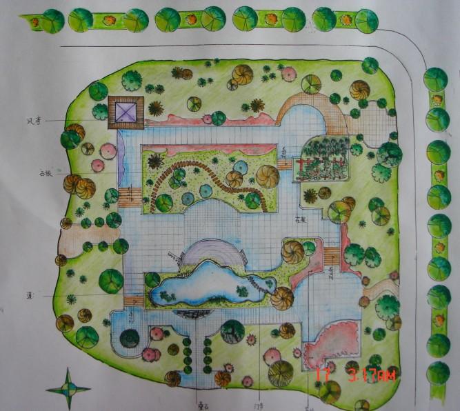 小游园手绘效果图; 果图 手绘效果; 小游园景观平面图