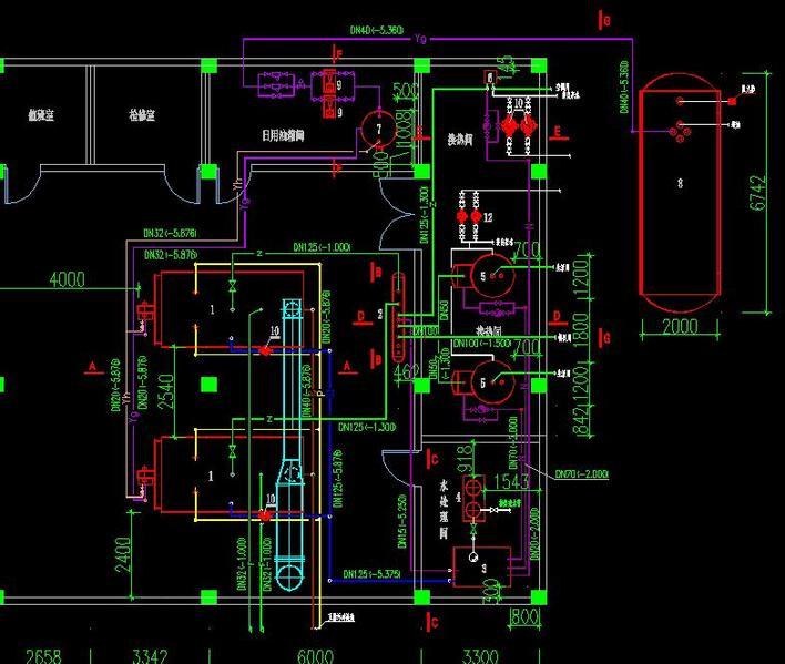 一套完整的燃油锅炉房设计图图片