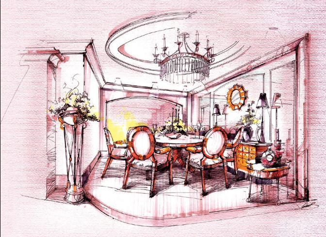 室内手绘平面图 手绘室内立面图