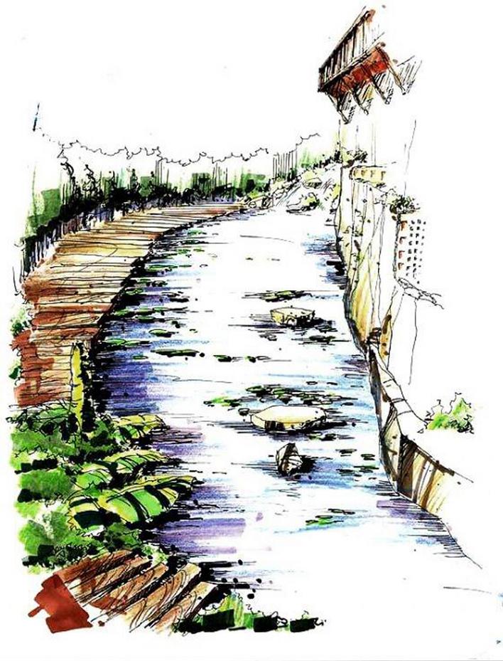 手绘园林景观效果图图集5;