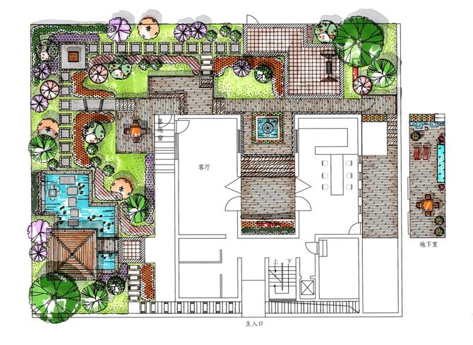 设计日式庭院设计私家别墅庭院设计庭院景观快题设计
