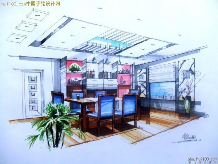 室内手绘效果图 手绘效果图 手绘效果图培训 景观手绘效果图 展厅手绘
