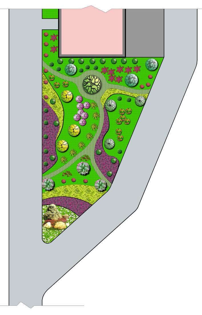 公园景观绿地植物配置总体规划设计平面图