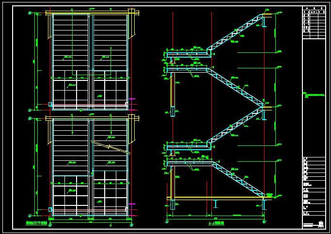 图纸 建筑结构图  钢楼梯大样    该图纸为一四层钢结构物流中心的