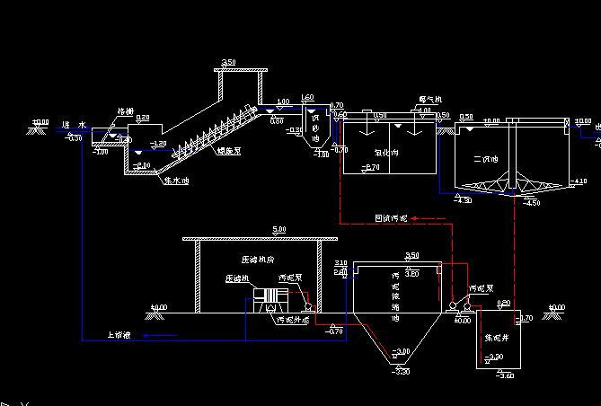 设计国外某污水厂部分结构施工图 某污水厂粗格栅及污水提升泵房平面