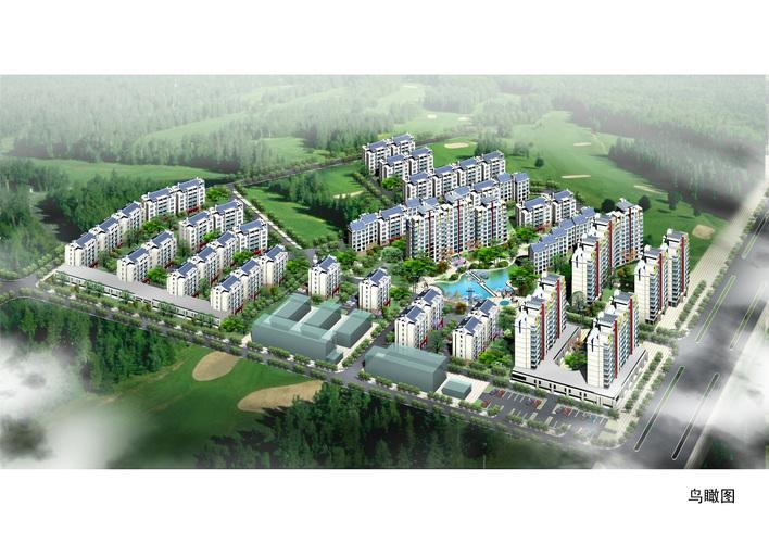 英伦风格小区建筑标准层,单体效果及鸟瞰图 某住宅小区鸟瞰彩平及绿化