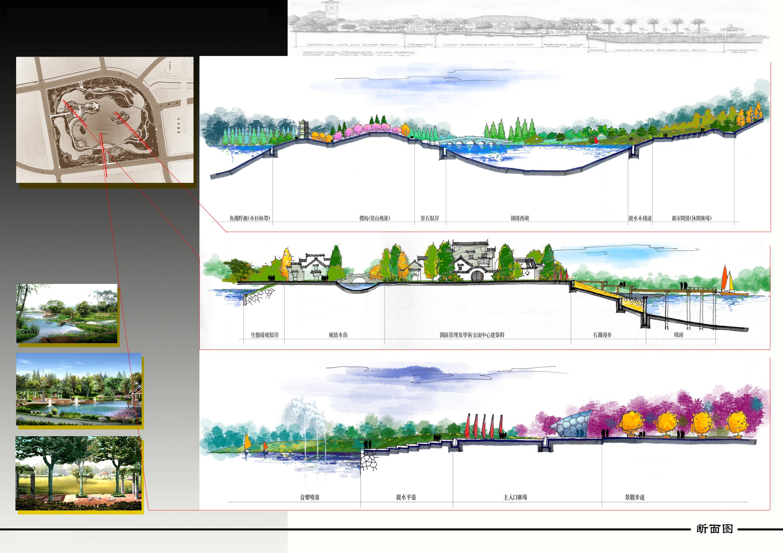 园林设计图 某公园的剖面图