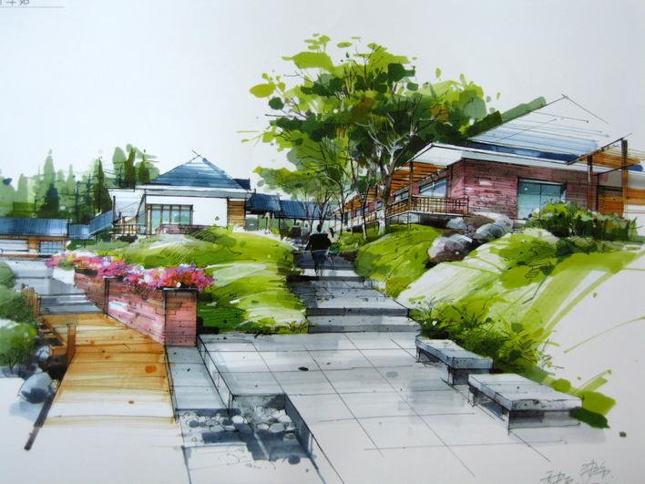 图纸 园林设计图  手绘技法    马克笔效果   所属分类:园林设计图