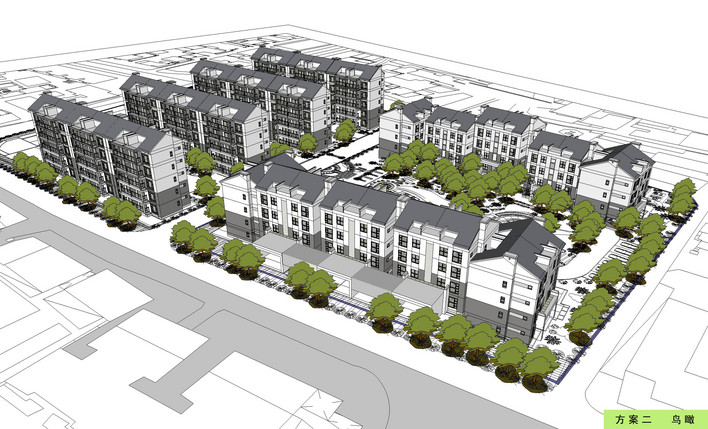 图纸 建筑图纸  居住区鸟瞰图   一个居住区的鸟瞰图  相关专题:居住
