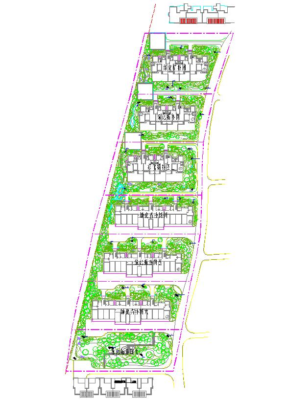 天香西园小区景观工程植物配置平面图 欧式住宅小区的植物配置施工图