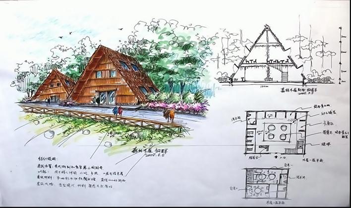共66张 小区规划(总平面)设计,手绘两个方案,彩铅 手绘木屋方案01