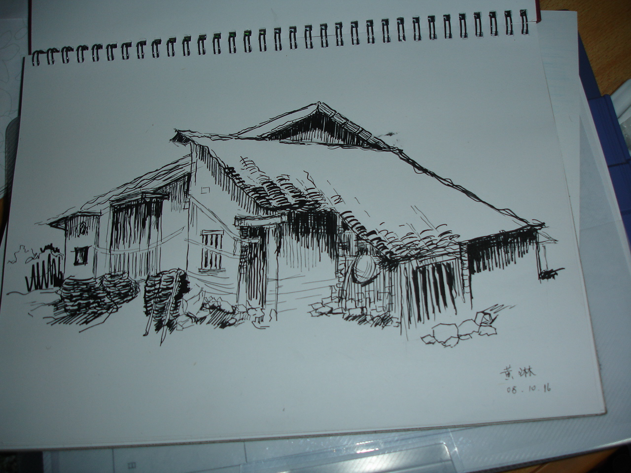钢笔画速写之近期建筑线稿风景速写建筑钢笔画临摹_建筑图片说明