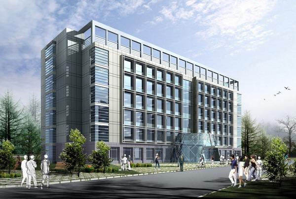 现代风格办公综合楼效果图