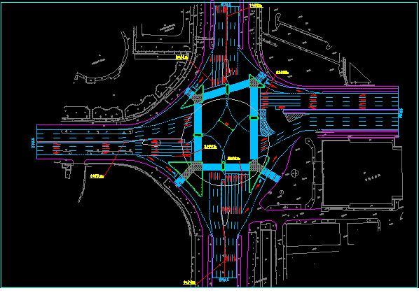 某大型转盘路口改造为标准十字路口的交通平面设计 申明:内容来自图片