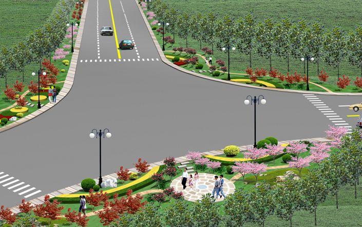 圖紙 園林設計圖  三岔路口   三岔路口效果圖  相關專題:三類住宅 三