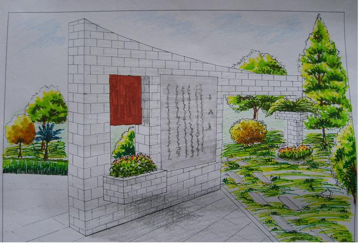 园林小品类效果图 (手绘 马克笔 彩铅绘制)