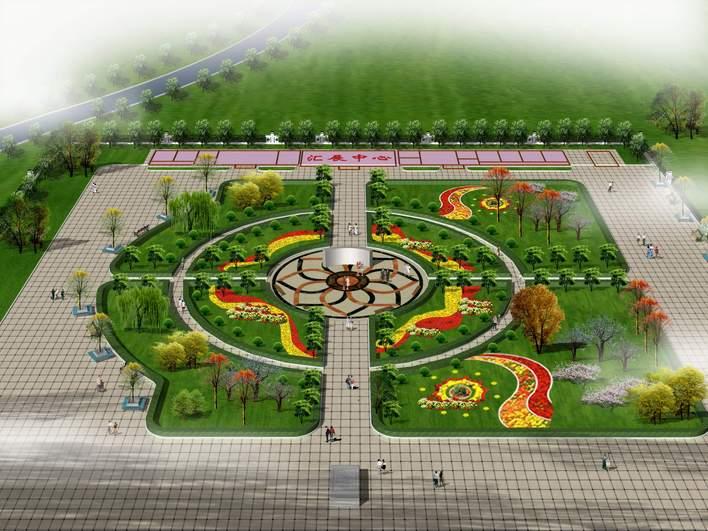 图纸 园林设计图 园林景观效果图 园林景观鸟瞰图 小广场鸟瞰图  上传