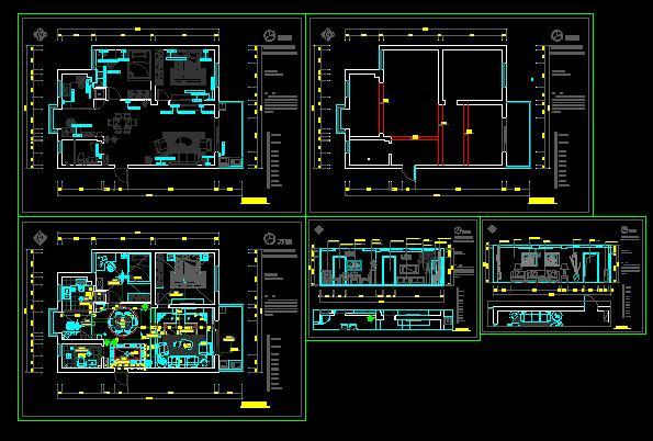 一套三室两厅装修图纸带效果图
