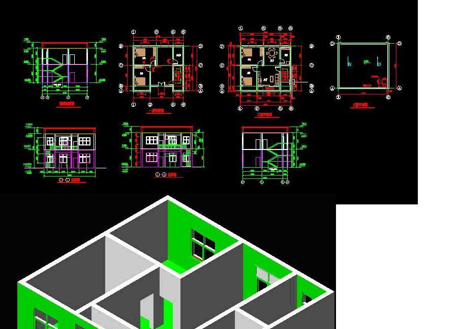 十米宽八米深两层别墅设计图纸展示图片