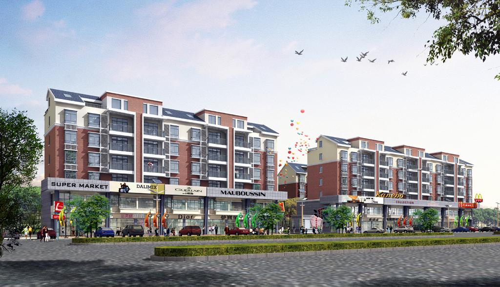 三层商业建筑效果图 商业建筑立面效果图