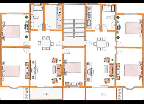 室内彩平图素材 住宅经典户型平面图cad原图