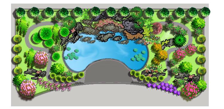 植物景观设计手绘剖面图