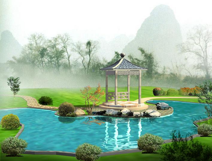 某地商业酒店室外绿化给水景观排水总平面图 某地某小区售楼部园林