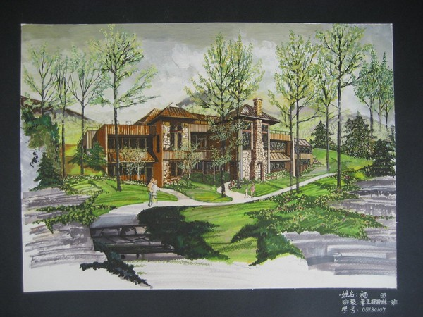 小别墅手绘效果图,马克笔 水粉 手绘图-图一 价格: 15土木币vip: 8