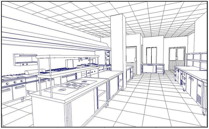 西餐厨房透视图