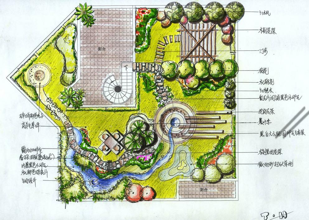 某酒店花园手绘平面方案