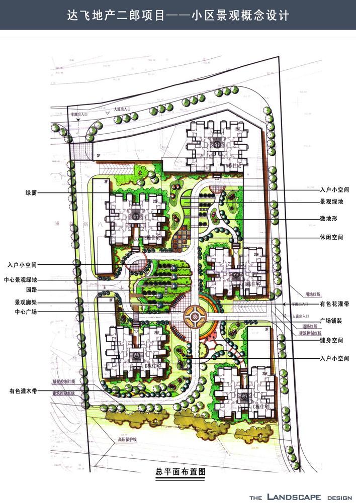 警卫室 门卫效果图大全 滨海传说室外环境设计方案平面效果图 某小区