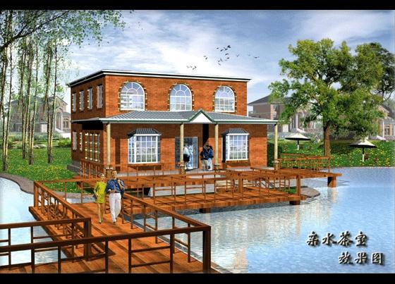 图纸 园林设计图 园林景观效果图 园林景观立面效果图 亲水茶室效果图