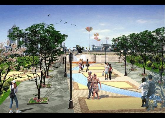 图纸 园林设计图 园林景观效果图 园林景观立面效果图 广场入口效果图