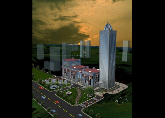 鸟瞰效果图室内鸟瞰图效果图景观效果图国际商业大厦景观亭子效果图