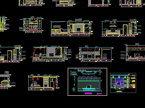 整理的cad分类立面图(电视背景墙)