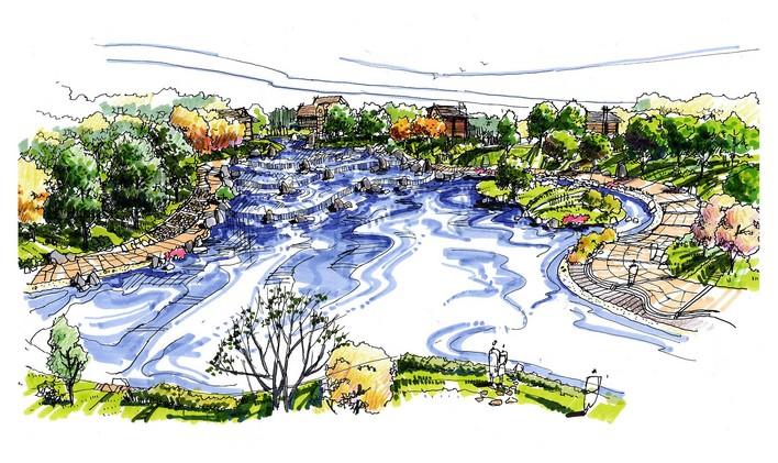 图纸 园林设计图  手绘景观    手绘的景观效果,基本上与水景有关.