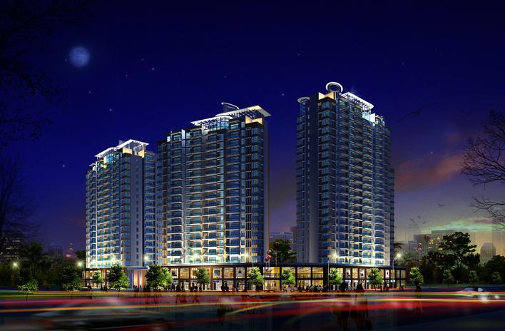 某高层建筑住宅楼夜景效果图
