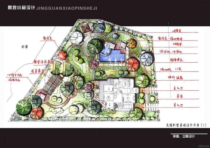 园林设计图  手绘图