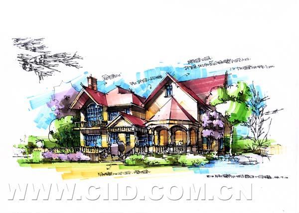 手绘牌坊景观小品手绘园林手绘素材叠水手绘手绘景观小品手绘快题设计
