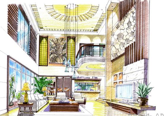 简介:广东别墅样板房室内手绘